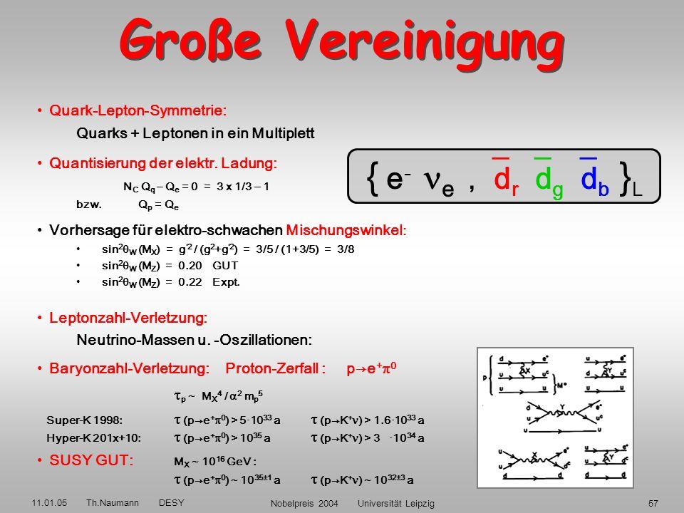 11.01.05 Th.Naumann DESY Nobelpreis 2004 Universität Leipzig56 W ±0 g ij BOSONEN W ±0 g ij BOSONEN X,Y X,Y elm. schwach stark vereinigt elm. schwach s