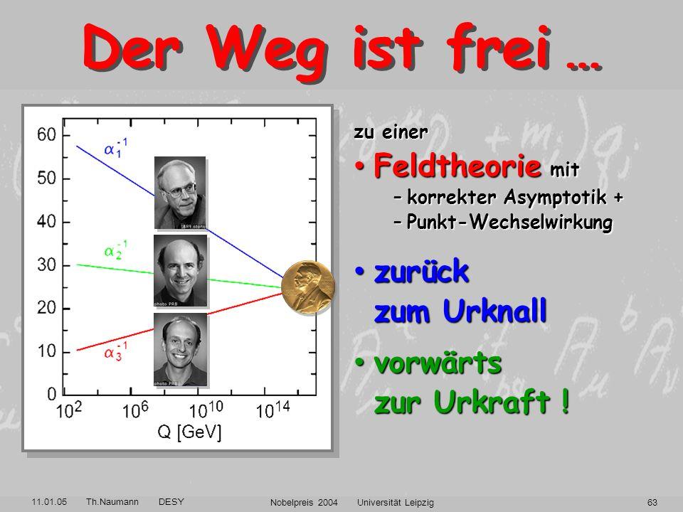 11.01.05 Th.Naumann DESY Nobelpreis 2004 Universität Leipzig62 Was mich schwach macht, macht mich stark ! Denn wenn ich schwach bin, bin ich stark. Pa