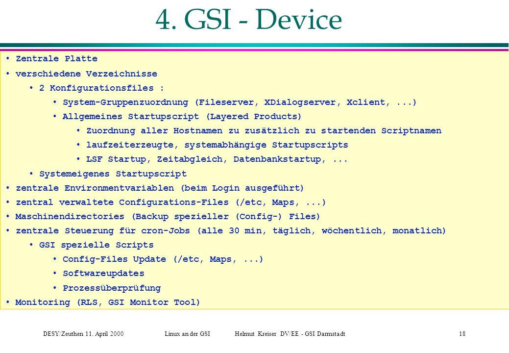 DESY/Zeuthen 11.April 2000Linux an der GSI Helmut Kreiser DV/EE - GSI Darmstadt18 4.