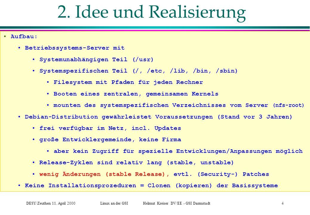 DESY/Zeuthen 11.April 2000Linux an der GSI Helmut Kreiser DV/EE - GSI Darmstadt4 2.