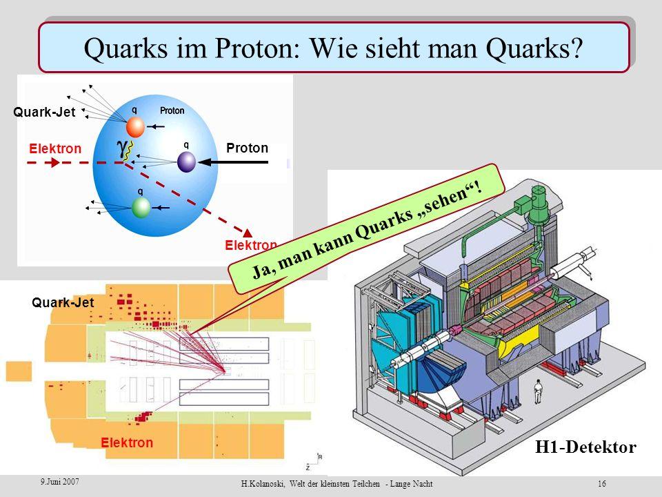 H.Kolanoski, Welt der kleinsten Teilchen - Lange Nacht15 9.Juni 2007 Elektronen 27.6 GeV Protonen 920 GeV H1 ZEUS