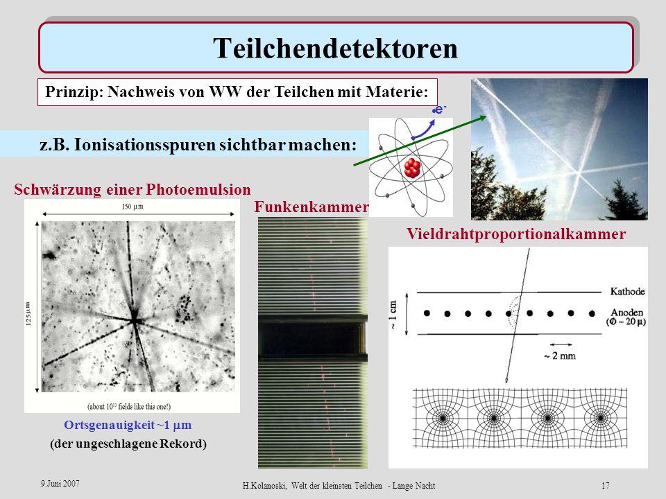 H.Kolanoski, Welt der kleinsten Teilchen - Lange Nacht16 9.Juni 2007 Quarks im Proton: Wie sieht man Quarks? Elektron Proton Elektron Proton Quark-Jet