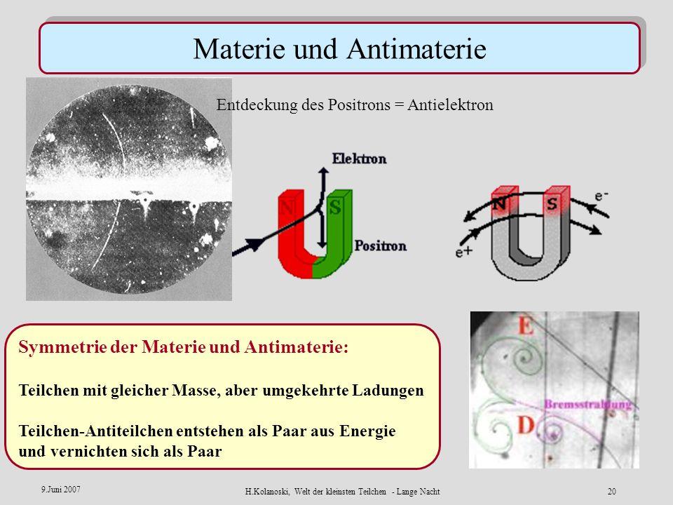 H.Kolanoski, Welt der kleinsten Teilchen - Lange Nacht19 9.Juni 2007 jet e+e+ e–e– quark antiquark Erzeugung von Quarks und Antiquarks aus Energie