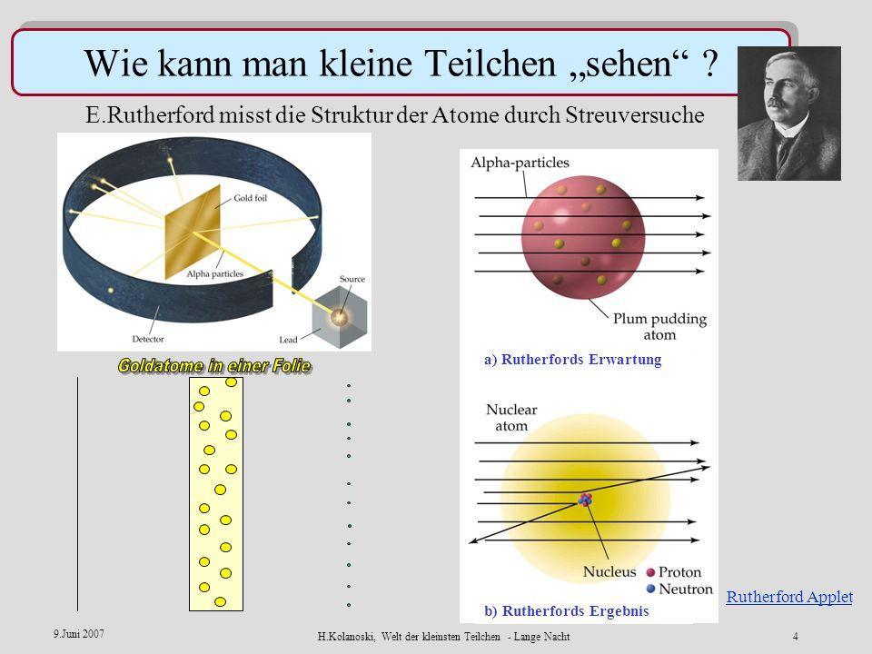 H.Kolanoski, Welt der kleinsten Teilchen - Lange Nacht3 9.Juni 2007 Die Materie ist körnig, aus Bausteinen aufgebaut Schlussfolgerungen sind indirekt.