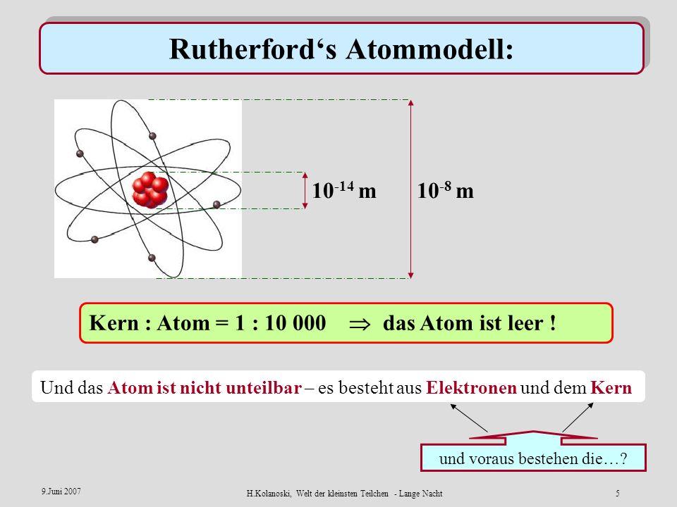 H.Kolanoski, Welt der kleinsten Teilchen - Lange Nacht4 9.Juni 2007 Wie kann man kleine Teilchen sehen ? E.Rutherford misst die Struktur der Atome dur