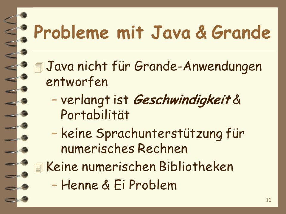 11 Probleme mit Java & Grande 4 Java nicht für Grande-Anwendungen entworfen –verlangt ist Geschwindigkeit & Portabilität –keine Sprachunterstützung für numerisches Rechnen 4 Keine numerischen Bibliotheken –Henne & Ei Problem