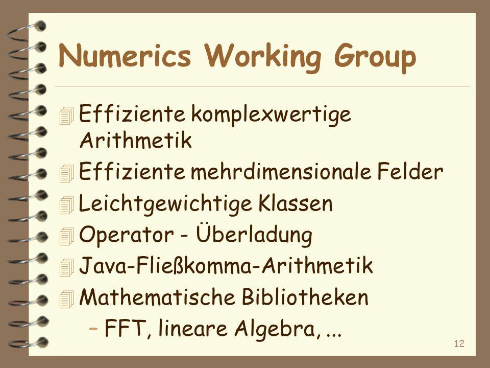 12 Numerics Working Group 4 Effiziente komplexwertige Arithmetik 4 Effiziente mehrdimensionale Felder 4 Leichtgewichtige Klassen 4 Operator - Überladung 4 Java-Fließkomma-Arithmetik 4 Mathematische Bibliotheken –FFT, lineare Algebra,...