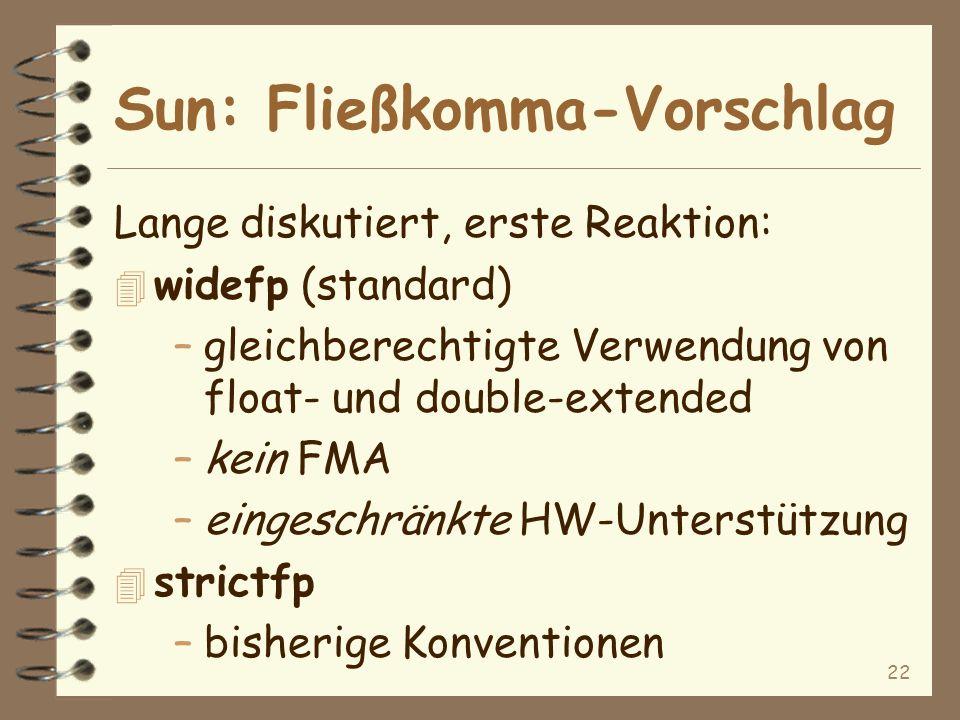 22 Sun: Fließkomma-Vorschlag Lange diskutiert, erste Reaktion: 4 widefp (standard) –gleichberechtigte Verwendung von float- und double-extended –kein FMA –eingeschränkte HW-Unterstützung 4 strictfp –bisherige Konventionen