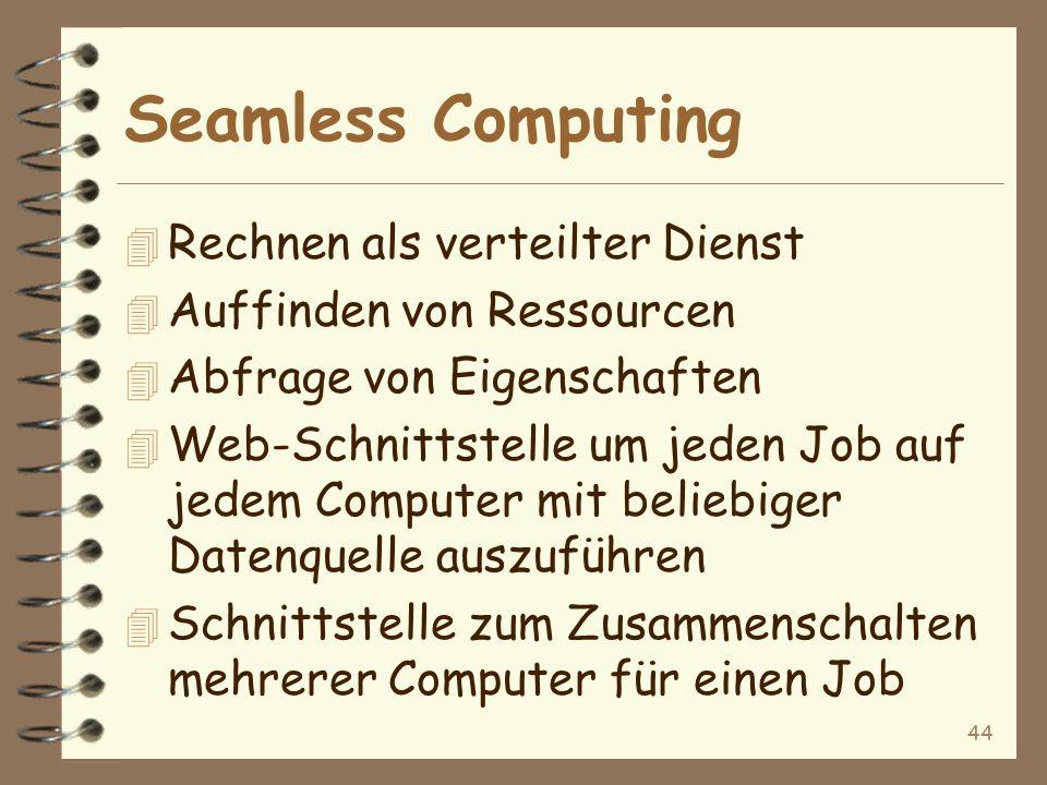 44 Seamless Computing 4 Rechnen als verteilter Dienst 4 Auffinden von Ressourcen 4 Abfrage von Eigenschaften 4 Web-Schnittstelle um jeden Job auf jedem Computer mit beliebiger Datenquelle auszuführen 4 Schnittstelle zum Zusammenschalten mehrerer Computer für einen Job