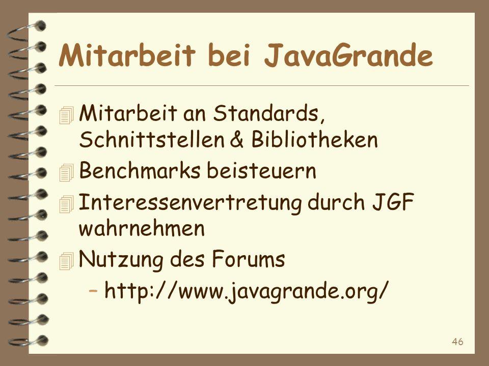 46 Mitarbeit bei JavaGrande 4 Mitarbeit an Standards, Schnittstellen & Bibliotheken 4 Benchmarks beisteuern 4 Interessenvertretung durch JGF wahrnehmen 4 Nutzung des Forums –http://www.javagrande.org/