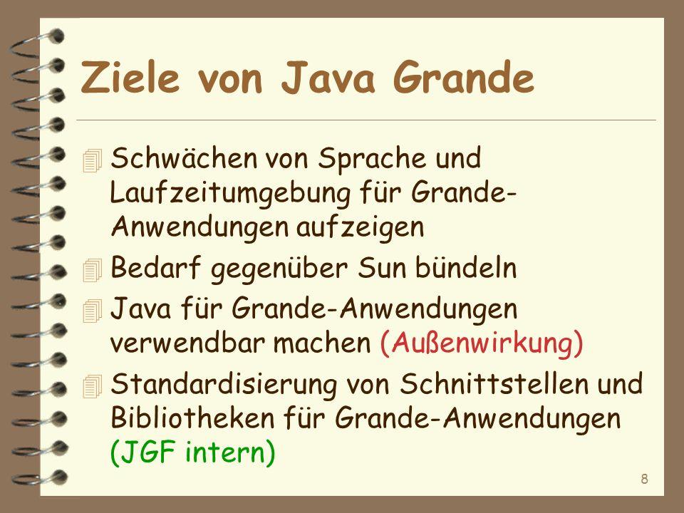 8 Ziele von Java Grande 4 Schwächen von Sprache und Laufzeitumgebung für Grande- Anwendungen aufzeigen 4 Bedarf gegenüber Sun bündeln 4 Java für Grande-Anwendungen verwendbar machen (Außenwirkung) 4 Standardisierung von Schnittstellen und Bibliotheken für Grande-Anwendungen (JGF intern)