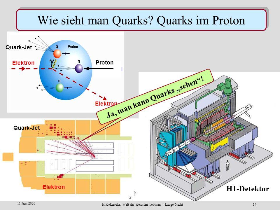 H.Kolanoski, Welt der kleinsten Teilchen - Lange Nacht13 11.Juni 2005 Elektronen 27.6 GeV Protonen 920 GeV H1 ZEUS