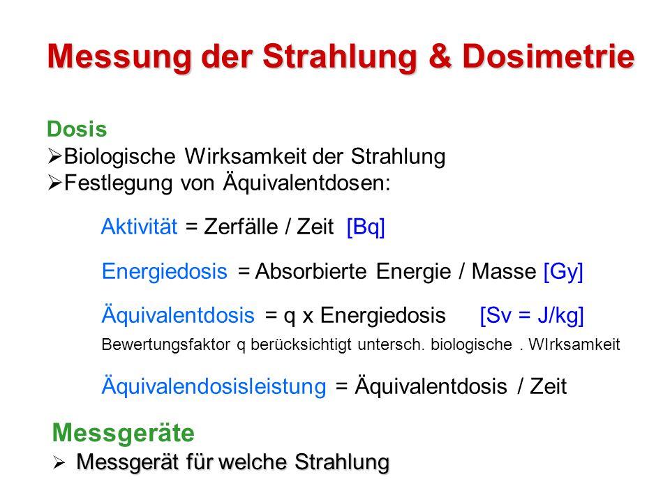Messung der Strahlung & Dosimetrie Dosis Biologische Wirksamkeit der Strahlung Festlegung von Äquivalentdosen: Aktivität = Zerfälle / Zeit [Bq] Energi