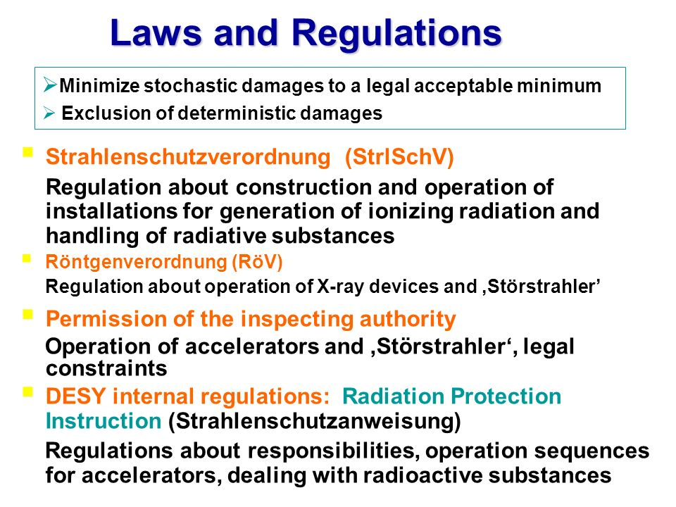 Laws and Regulations Strahlenschutzverordnung (StrlSchV) Regulation about construction and operation of installations for generation of ionizing radia