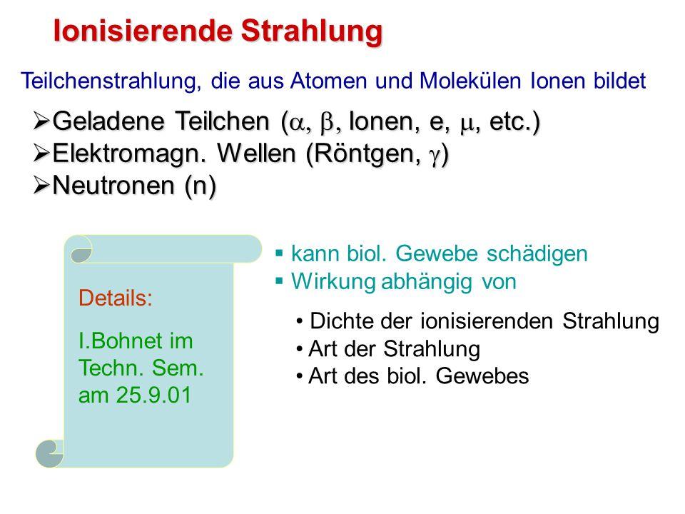 Ionisierende Strahlung Geladene Teilchen ( Ionen, e,, etc.) Geladene Teilchen ( Ionen, e,, etc.) Elektromagn. Wellen (Röntgen, ) Elektromagn. Wellen (