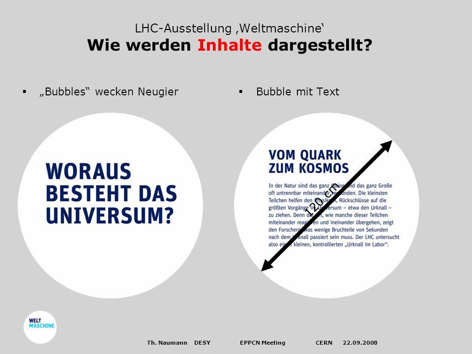 LHC-Ausstellung Weltmaschine Wie werden Inhalte dargestellt.