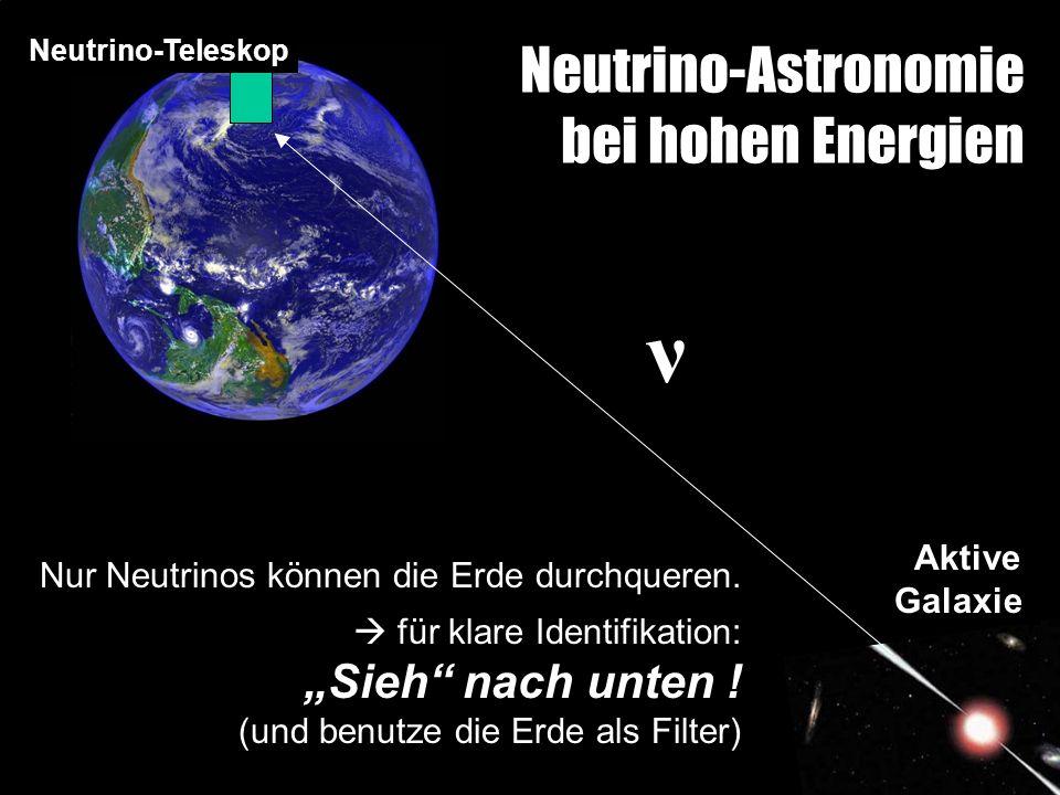 Aktive Galaxie ν Nur Neutrinos können die Erde durchqueren. für klare Identifikation: Sieh nach unten ! (und benutze die Erde als Filter) Neutrino-Ast