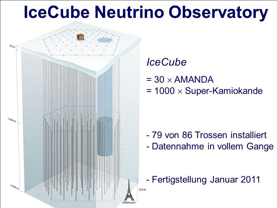 IceCube Neutrino Observatory IceCube = 30 AMANDA = 1000 Super-Kamiokande - 79 von 86 Trossen installiert - Datennahme in vollem Gange - Fertigstellung