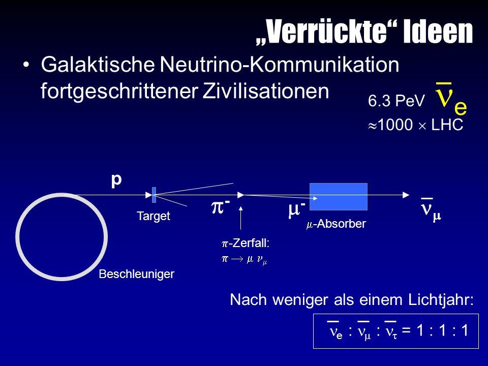 Verrückte Ideen Galaktische Neutrino-Kommunikation fortgeschrittener Zivilisationen 6.3 PeV e 1000 LHC p - - Beschleuniger -Zerfall: Target -Absorber