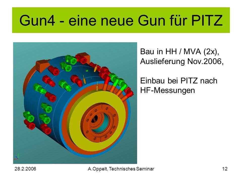28.2.2006A.Oppelt, Technisches Seminar12 Bau in HH / MVA (2x), Auslieferung Nov.2006, Einbau bei PITZ nach HF-Messungen Gun4 - eine neue Gun für PITZ