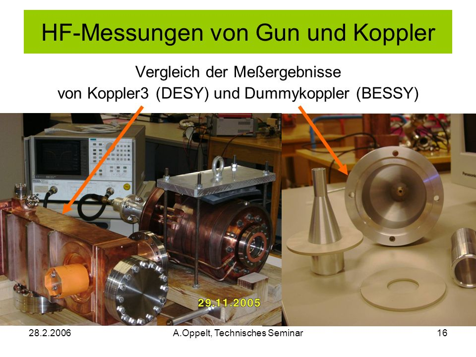 28.2.2006A.Oppelt, Technisches Seminar16 Vergleich der Meßergebnisse von Koppler3 (DESY) und Dummykoppler (BESSY) HF-Messungen von Gun und Koppler