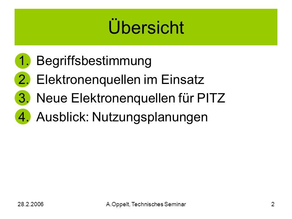 28.2.2006A.Oppelt, Technisches Seminar2 Übersicht 1. Begriffsbestimmung 2. Elektronenquellen im Einsatz 3. Neue Elektronenquellen für PITZ 4. Ausblick
