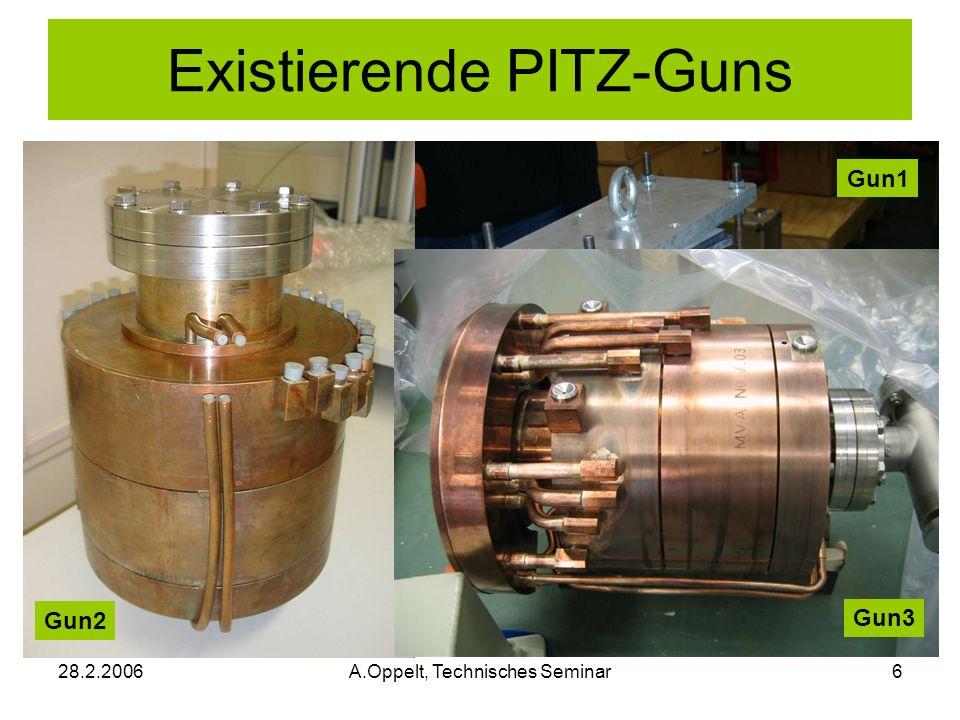 28.2.2006A.Oppelt, Technisches Seminar6 Existierende PITZ-Guns Gun1 Gun2 Gun3