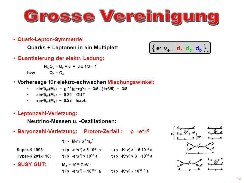 Universität Leipzig Kolloquium 8 Juni 04 17 W ±0 g ij BOSONEN W ±0 g ij BOSONEN X,Y X,Y elm. schwach stark U(1)SU(2) SU(3) SU(5) SYMMETRIEN U(1) SU(2)