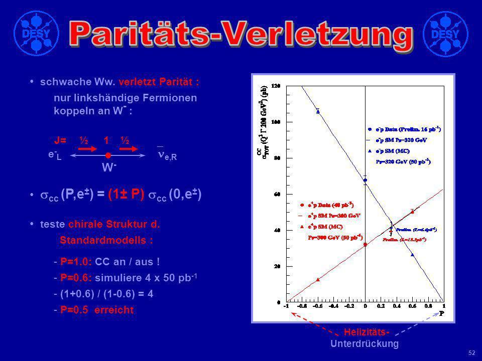 Universität Leipzig Kolloquium 8 Juni 04 51 (e - p) > (e + p) CC Cross Section e-e- e+e+ _ _ --- (e - p) ~ x (u+c) + (1-y 2 ) x (d+s) _ _ --- (e + p)