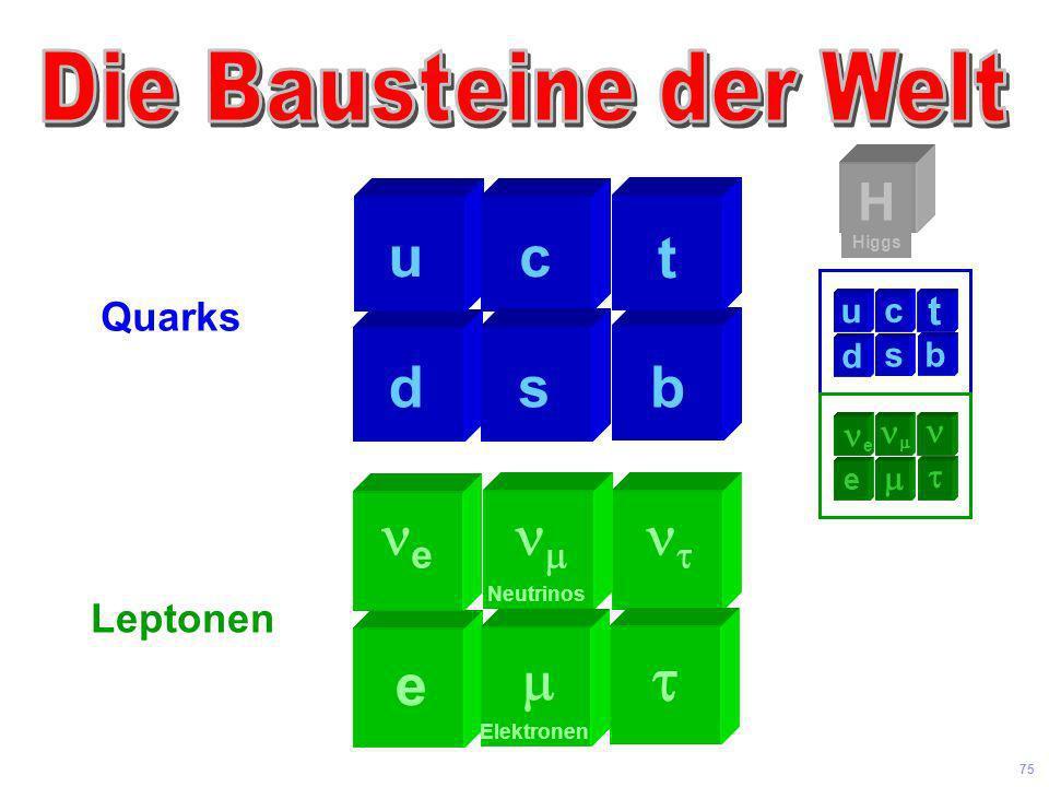 Universität Leipzig Kolloquium 8 Juni 04 74 Kosmos Atom Kern Proton Zelle Sonnen system Galaxis Sterne Quark 10 26 m 10 -35 m Strings 10-D HiggsDunkle
