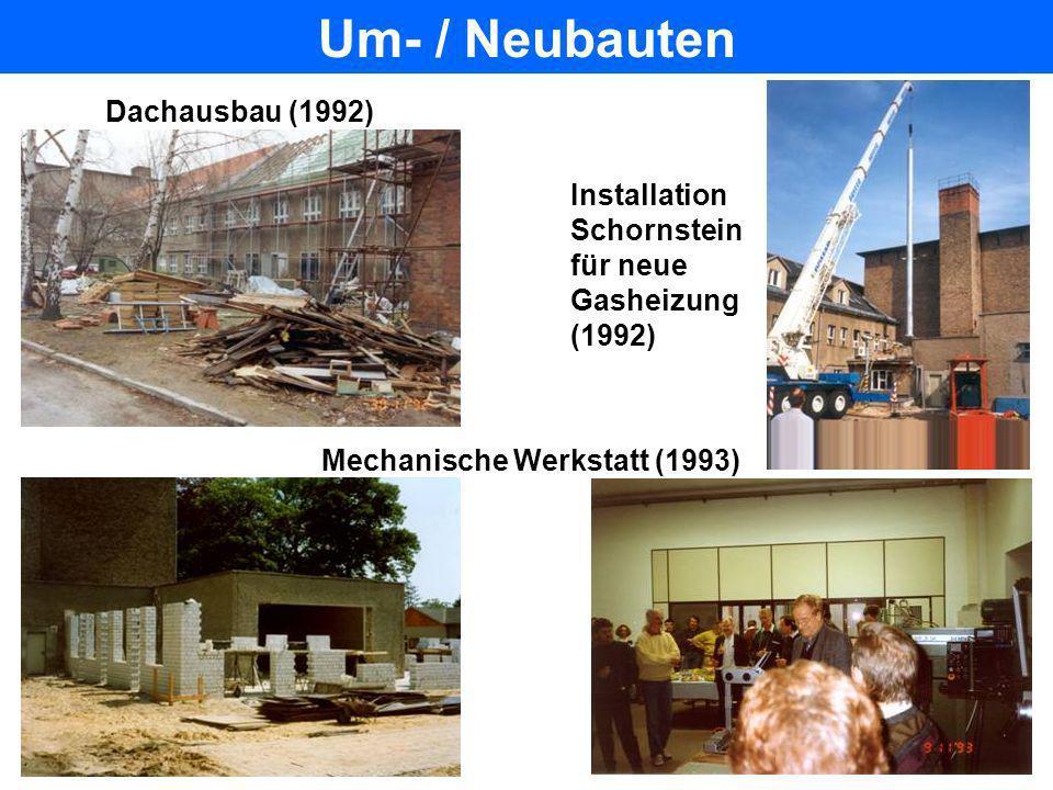Um- / Neubauten Halle (1992)Richtfest Hallenumbau 9/94 Abriß alte Kantine Halle (Juni 1992) Bau PITZ-Tunnel (2000)
