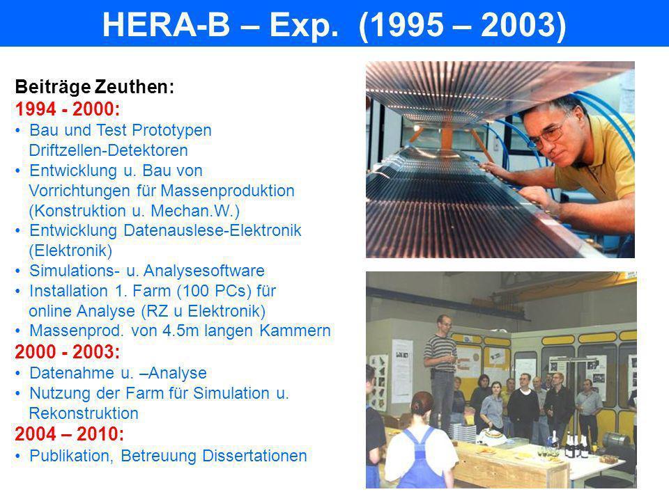 HERA-B – Exp. (1995 – 2003) Beiträge Zeuthen: 1994 - 2000: Bau und Test Prototypen Driftzellen-Detektoren Entwicklung u. Bau von Vorrichtungen für Mas