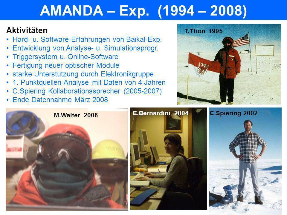 IceCube – Exp.(ab 2003) Aktivitäten Simulation für Detektoroptimierung Fertigung u.