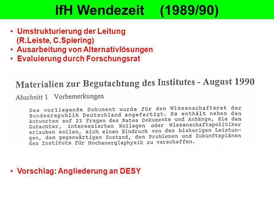 IfH Zeuthen (August 1990) Proportionalkammer 2.8.1990 : P.Söding wird amtierender Direktor v.l.n.r.: H.O.Roloff, C.Spiering, P.Söding 6.9.1990 : Verabschiedung der IfH-Direktion Im Vordergrund: E.