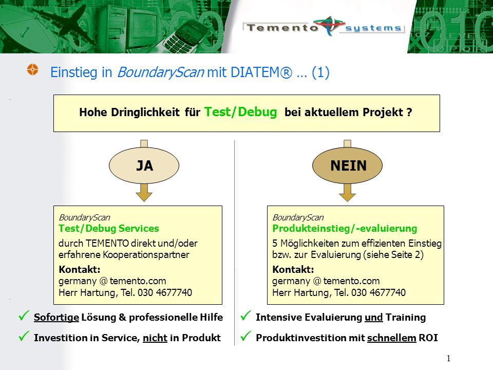 1 Einstieg in BoundaryScan mit DIATEM® … (1) Hohe Dringlichkeit für Test/Debug bei aktuellem Projekt .