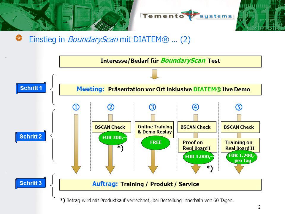 2 Einstieg in BoundaryScan mit DIATEM® … (2) Interesse/Bedarf für BoundaryScan Test Meeting: Präsentation vor Ort inklusive DIATEM® live Demo Auftrag: Training / Produkt / Service Schritt 1 Schritt 2 Schritt 3 Online Training & Demo Replay FREE BSCAN Check EUR 300,-- *) BSCAN Check Proof on Real Board I EUR 1.000,-- *) *) Betrag wird mit Produktkauf verrechnet, bei Bestellung innerhalb von 60 Tagen.