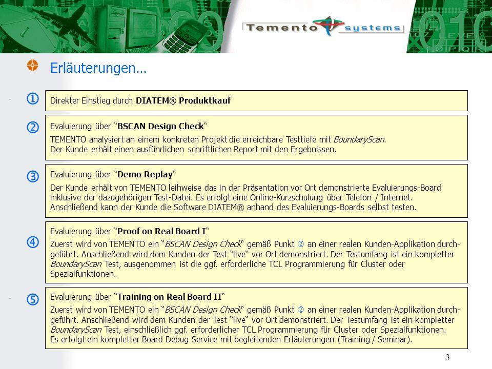 3 Erläuterungen… Direkter Einstieg durch DIATEM® Produktkauf Evaluierung über BSCAN Design Check TEMENTO analysiert an einem konkreten Projekt die erreichbare Testtiefe mit BoundaryScan.
