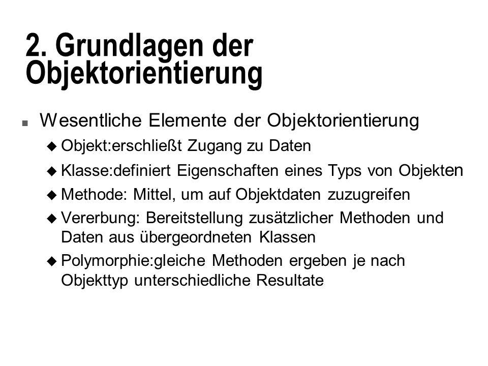 2. Grundlagen der Objektorientierung n Wesentliche Elemente der Objektorientierung u Objekt:erschließt Zugang zu Daten u Klasse:definiert Eigenschafte