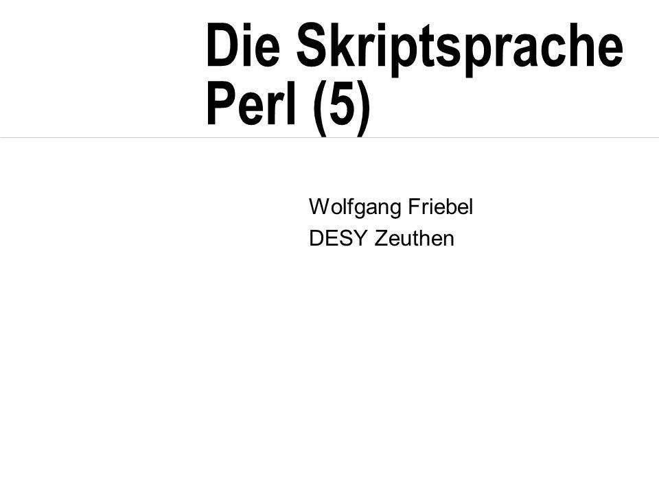 Die Skriptsprache Perl (5) Wolfgang Friebel DESY Zeuthen