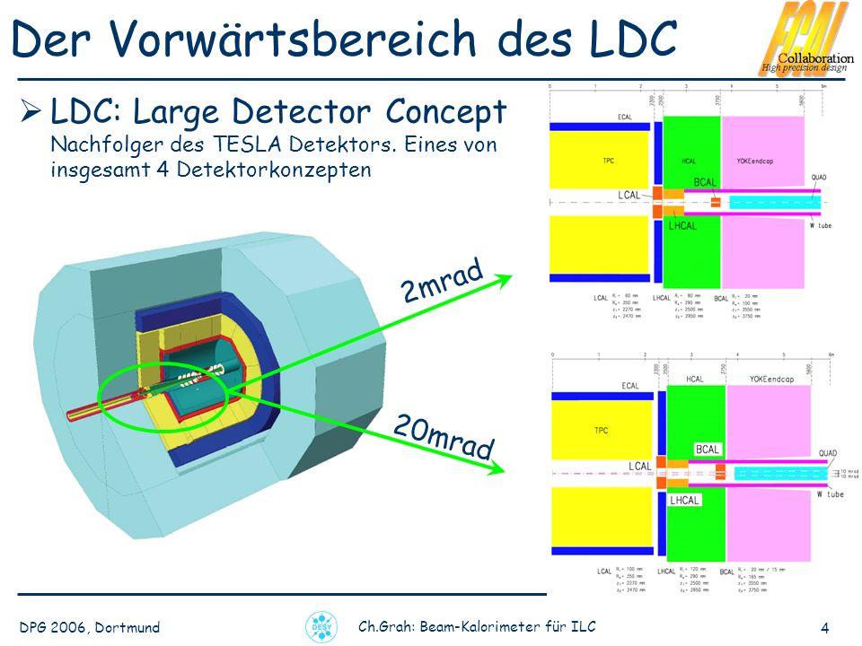 DPG 2006, Dortmund Ch.Grah: Beam-Kalorimeter für ILC 4 Der Vorwärtsbereich des LDC LDC: Large Detector Concept Nachfolger des TESLA Detektors.