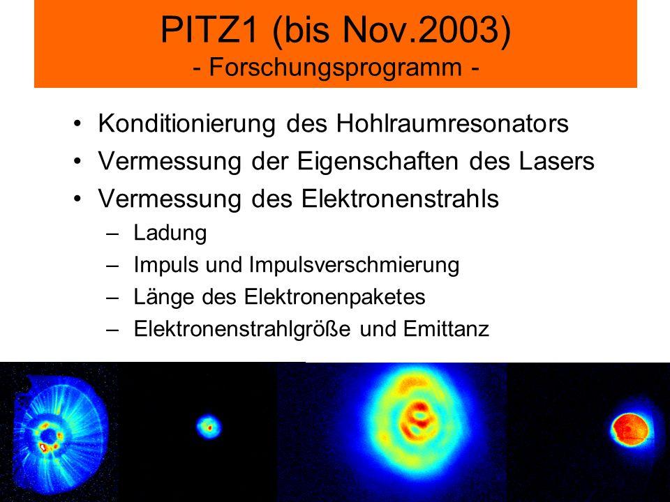 PITZ1 (bis Nov.2003) - Forschungsprogramm - Konditionierung des Hohlraumresonators Vermessung der Eigenschaften des Lasers Vermessung des Elektronenst