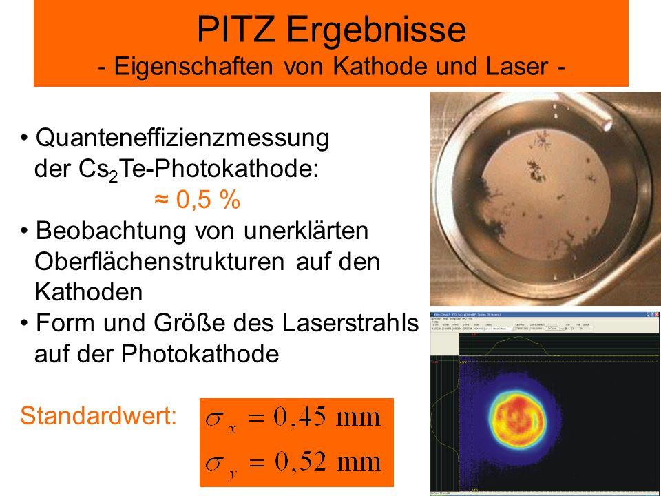PITZ Ergebnisse - Eigenschaften von Kathode und Laser - Quanteneffizienzmessung der Cs 2 Te-Photokathode: 0,5 % Beobachtung von unerklärten Oberfläche