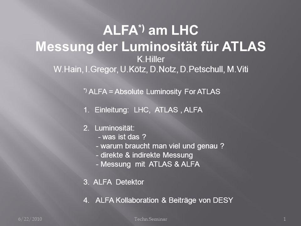 ALFA *) am LHC Messung der Luminosität für ATLAS K.Hiller W.Hain, I.Gregor, U.Kötz, D.Notz, D.Petschull, M.Viti *) ALFA = Absolute Luminosity For ATLA