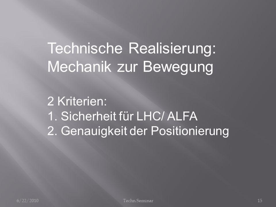 Technische Realisierung: Mechanik zur Bewegung 2 Kriterien: 1. Sicherheit für LHC/ ALFA 2. Genauigkeit der Positionierung 6/22/201015Techn.Seminar