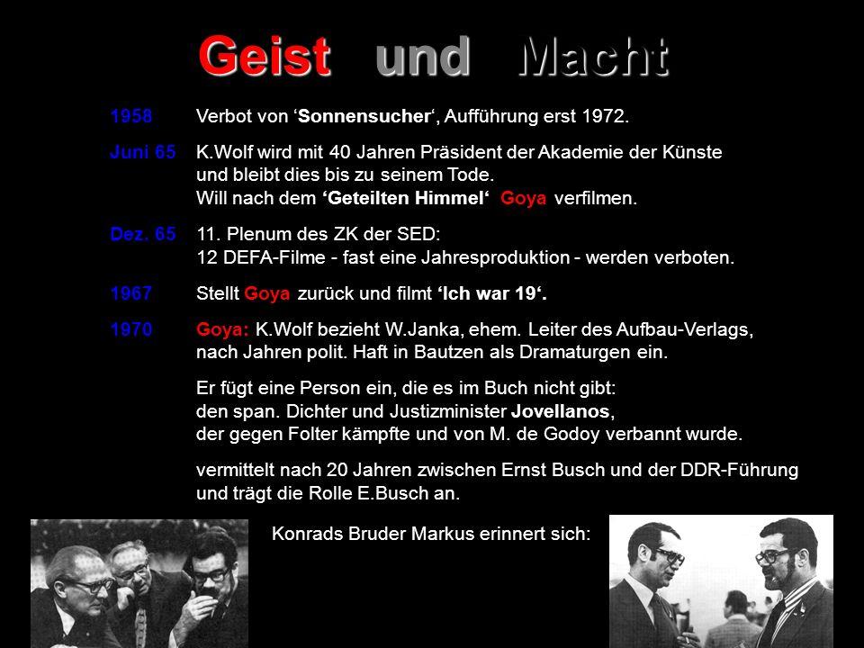 1958 Verbot von Sonnensucher, Aufführung erst 1972. Juni 65 K.Wolf wird mit 40 Jahren Präsident der Akademie der Künste und bleibt dies bis zu seinem