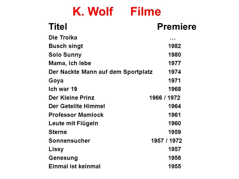 K. Wolf Filme Titel Premiere Die Troika … Busch singt1982 Solo Sunny1980 Mama, ich lebe1977 Der Nackte Mann auf dem Sportplatz 1974 Goya1971 Ich war 1