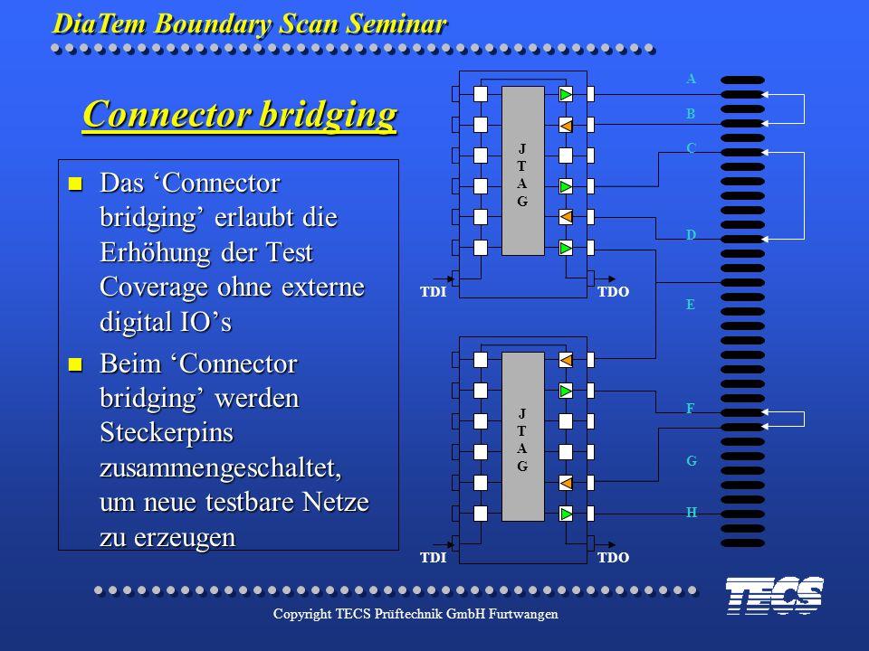 DiaTem Boundary Scan Seminar Copyright TECS Prüftechnik GmbH Furtwangen Das Connector bridging erlaubt die Erhöhung der Test Coverage ohne externe dig
