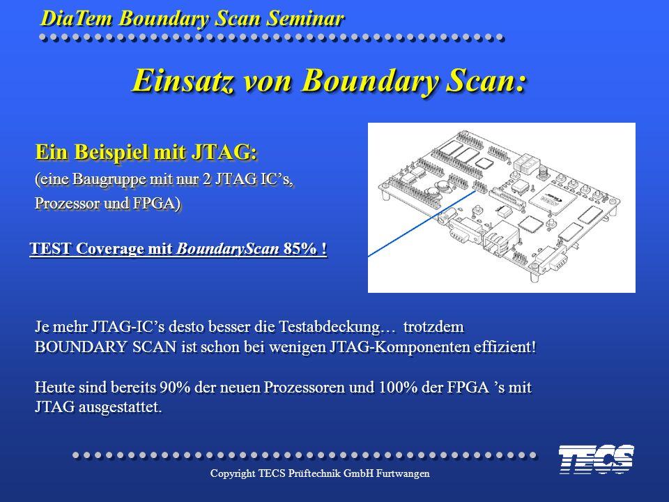 DiaTem Boundary Scan Seminar Copyright TECS Prüftechnik GmbH Furtwangen TEST Coverage mit BoundaryScan 85% ! Je mehr JTAG-ICs desto besser die Testabd