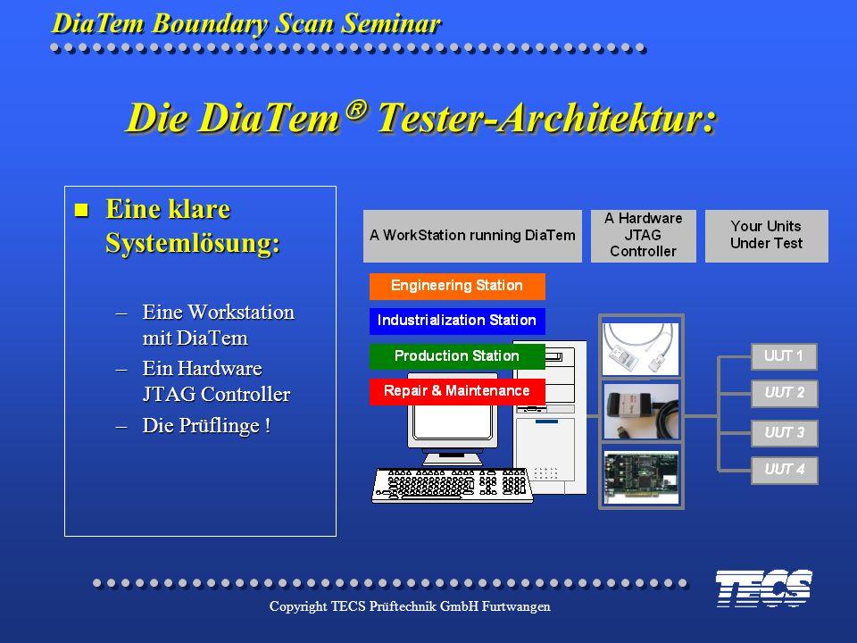 DiaTem Boundary Scan Seminar Copyright TECS Prüftechnik GmbH Furtwangen Die DiaTem Tester-Architektur: n Eine klare Systemlösung: –Eine Workstation mi