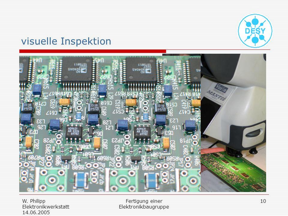 W. Philipp Elektronikwerkstatt 14.06.2005 Fertigung einer Elektronikbaugruppe 10 visuelle Inspektion okularloses Stereomikroskop